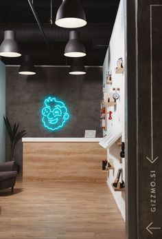 "Branding & Interior Design for Gizmo by Emil Kozole ""Gizzmo.si is the first digital concept store in Slovenia, where customers can browse through more than items using our iPad app in a comfy environment. Click-and-collect service allows them. Neon Lighting, Interior Lighting, Lighting Design, Small Space Office, Small Spaces, Studio Interior, Interior Design, Blog Design Inspiration, Commercial Design"