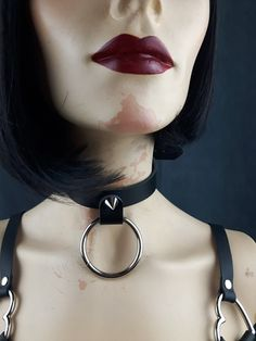 Choker Leather Vegan Single Spike O Choker by StarCreationsCa O Ring Choker, Stainless Steel Rings, Leather Accessories, Different Styles, Vegan Leather, Chokers, Handmade Items, Etsy, Jewelry