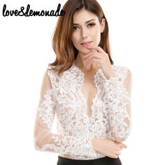 Cheap lace stocking, Buy Quality lace long sleeve wedding gown directly from China lace garter Suppliers: Love&Lemonade Sexy White V-Neck Lace  Bodysuits TB 9655