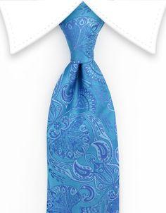Ocean Blue Floral Necktie