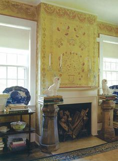 Restored stenciling from a former 1780′s inn and tavern in New England.