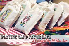 PRIZES: Use transfer paper to make circus muslin party favor bag! - tutorial via lilblueboo.com