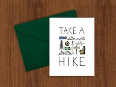 Take a Hike greeting card - Sherpa Ant - illustrated print, Hiking, Camping, 4000 footer, congratulations, birthday card, mountain card, A7
