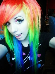 Rainbow hair for Ailbhe; this is pretty scene Hairstyles With Bangs, Pretty Hairstyles, Scene Girl Fashion, Scene Haircuts, Scene Hairstyles, Wacky Hair, Emo Scene Hair, Pretty Hair Color, Scene Kids
