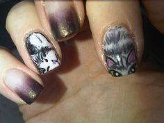 cat-nails meow Cat Nail Art, Cat Nails, Paw Print Nails, Pretty Nails, Manicure, Nail Designs, Hair Beauty, Rings For Men, Nail Polish