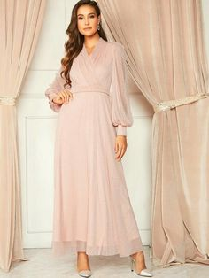 Long Sleeve Maxi, Maxi Dress With Sleeves, V Neck Dress, The Dress, Dress P, Dress Outfits, Modest Wear, Glitter Dress, Frack