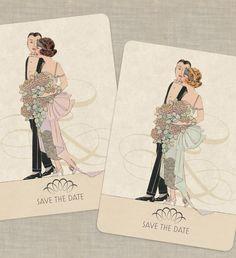 Save the Date Wedding Invitations Vintage Deco Theme Set of 100.