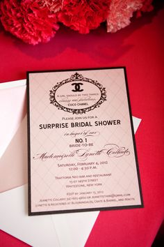 I had the pleasure of working with client Jeanette who was throwing a bridal shower for her sister.  She decided to use the CoCo Chanel Inspired Bridal Shower from the Creative Outlook Designs' Etsy store.  She ordered not only invitations but she purchase