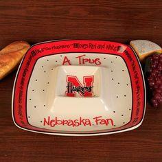 Nebraska Cornhuskers True Fan Ceramic Chip & Dip Serving Tray  #Fanatics