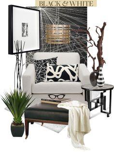 """Modern Black & White Room"" by sanguine-marble on Polyvore"
