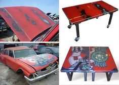 Recycled metal furniture from scrap car hoods.