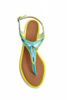 Goa Embroidered T Bar Sandal by Christophe Sauvat