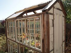 This recycled window glass house is sustainable and clever. A #Carpenter or #Builder can create it for you.