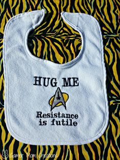 Star Trek embroidered Bib. $6.20, via Etsy.
