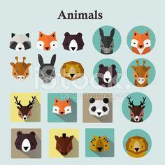 Animals avatars set royalty-free stock vector art