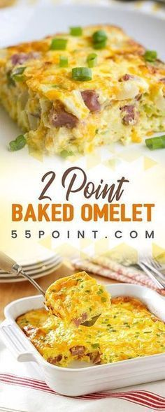 Baked Omelet Only 2 Points!! Weigth Watchers, Weight Watchers Food, Weight Watchers Recipes With Smartpoints, Weight Watchers Sides, Weight Watchers Lunches, Weight Watcher Smoothies, Weightwatchers Recipes, Weight Watcher Dinners, Weight Watchers Smart Points
