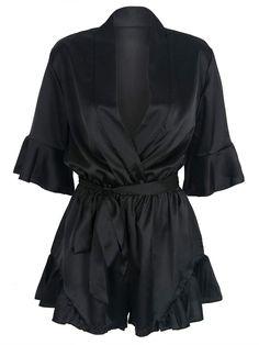 ebf036813e Black Wrap V-neck Ruffle Sleeve Tie Waist Sateen Romper Playsuit Black  Playsuit