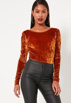 Missguided - Orange Crushed Velvet Scoop Back Bodysuit