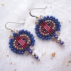 Beaded and wired micromacrame earrings, macrame earrings, fibre earrings, dangle earrings
