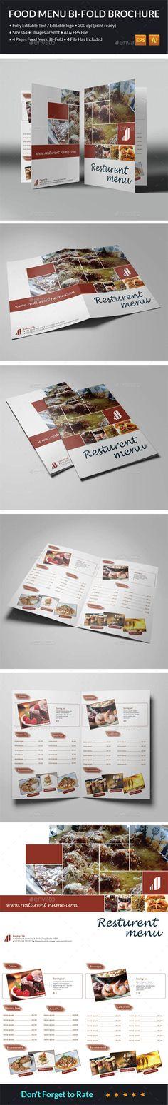 Food Menu Bi-Fold Brochure - Food Menus Print Templates Download here:  https://graphicriver.net/item/food-menu-bifold-brochure/14392798?ref=alena994