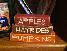 Fall stacking blocks cute shelf sitters by PorchPostPrimitives, $6.00