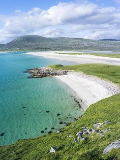 Scotland, Isle of Harris, Outer Hebrides, Elevated view of Seilebost Beach