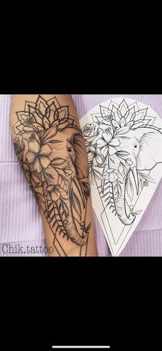 Tattoos For Women Half Sleeve, Arm Sleeve Tattoos, Back Tattoo Women, Forearm Tattoos, Ankle Tattoos For Women Mandala, Chest Tattoo, Elephant Thigh Tattoo, Elephant Tattoo Design, Elephant Tattoos