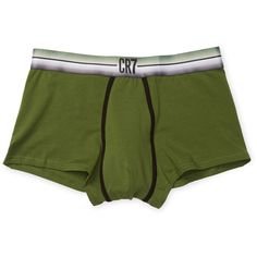 CR7 Cristiano Ronaldo Men's Solid Knit Trunks - Green - Size L ($15) ❤ liked on Polyvore featuring men's fashion, men's clothing, men's underwear, green, mens trunks and mens swim trunks