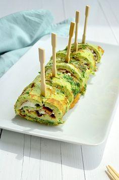 Gezonde omelet rolletjes met geitenkaas. Lekker als lunch maar ook als hapje bij de high tea.