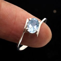 925 Sterling Silver Blue Topaz Oval Gemstone Ring Jewelry Size us 8.25 #Unbranded #Ring #MOTHERSDAY