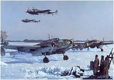 Luftwaffe Messerschmitt Bf 110 E2's of Zerstorergeschwader 1 (ZG/1) 'Wespengeschwader' move off for another ground attack, russian front, 1942 - pin by Paolo Marzioli