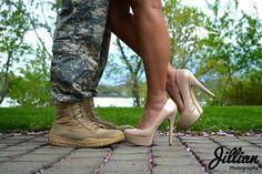 Jillian Photography | {couple, engagement, military, photo shoot, USA, photography, shoes, so barbie)