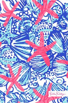 Lilly Pulitzer Summer 2014 Print: She She Shells Could be painted w/ Yellow shells and DG in the middle or a quote over the print