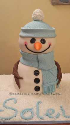 Lovable Snowman Cake... Coolest Birthday Cake Ideas