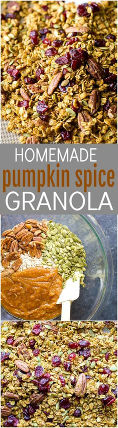 An easy healthy and Homemade Pumpkin Spice Granola Recipe you'll want to indulge on year round!All your favorite fall flavors in one granola recipe - pumpkin, allspice, nutmeg, cloves, cinnamon ... its fall in a bite! Only 190 calories a serving!