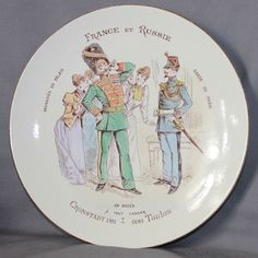 French pottery plate,russian soldier, (GRENADIER DU PALAIS) and french soldier, (GARDE DE PARIS), they are a big success with the women. Diameter : 21,8 cm. Mark : printed marks. Condition : good.