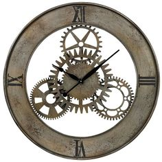 """Universal Lighting and Decor Industrial Cog 30"""" Round Wall Clock (230 AUD) ❤ liked on Polyvore featuring home, home decor, clocks, clock, universal lighting and decor, gear wall clock and gear clock"""