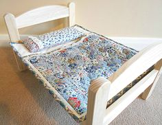 Liberty handmade patchwork dolls quilt sleeping bag and pillow for Ikea Duktig wooden dolls bed by gathersandbows on Etsy