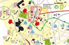Cartographie affective - Catherine Jourdan. A travers plusieurs ateliers d'enfants, elle propose une carte affective collaborative, présentant une certaine vision du territoire regardé.