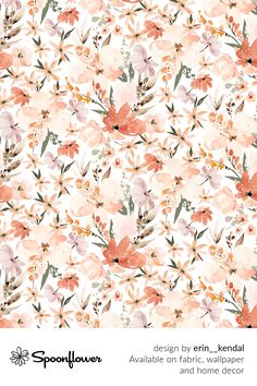 Customize your own home decor, #wallpaper and #fabric at Spoonflower. Shop your favorite indie designs on #fabric, #wallpaper and home decor products on Spoonflower, all printed with #eco-friendly inks and handmade in the United States. #patterndesign #textildesign #pattern #digitalprinting #homedecor #Earth #tone #floral #summer #peach #apricot Fabric Wallpaper, Summer Flowers, Floral Designs, Earth Tones, Watercolor Flowers, Creative Business, Custom Fabric, Spoonflower, Diy Wedding