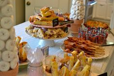 Love this morning/brunch idea for a meeting or a shower, etc.  The bacon on a skewer, the donut tree, eveyrthing, too cute.