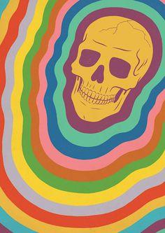 Trippy Rainbow Skull Art Print by qualitypunk Art Sketches, Art Drawings, Couple Drawings, Pencil Drawings, Arte Peculiar, Hipster Drawings, Posca Art, Skeleton Art, Arte Horror