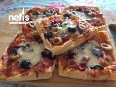 Çıtır Milföy Pizza Turkish Recipes, Food Humor, Pie Recipes, Vegetable Pizza, Bakery, Food And Drink, Bread, Breakfast, Bb