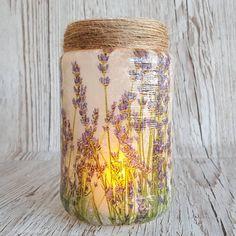 LAVENDER Jar Jar Light Upcycled nightlight Decoupage
