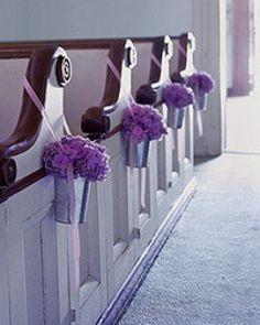 purple hydrangeas in silver buckets for pew markers