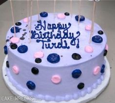 "Cake Wrecks - It's doubly unfortunate that these polka dots look a lot more ""Turdi"" than ""Trudi"":"