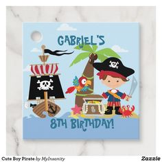 Cute Boy Pirate Favor Tags #favortags #pirate #birthday
