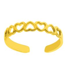 .925 Sterling Silver Dainty Yellow Gold Plated Heart Summer Adjustable Toe Ring