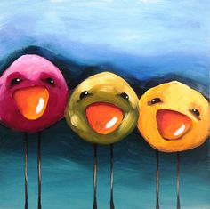Original acrylic canvas painting on canvas paper whimsical bird bright colorful #Modernism