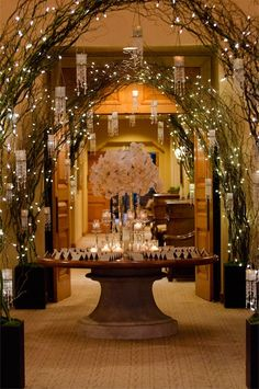 if we could find some long birch limbs like this we could do this for the entrance way. It would look so pretty.